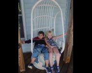 Relax in swing with kids
