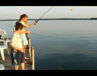 Kids fishing from South Harbor Dock